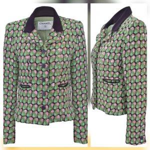 Vintage CHANEL Pink & Green Fantasy Tweed Jacket